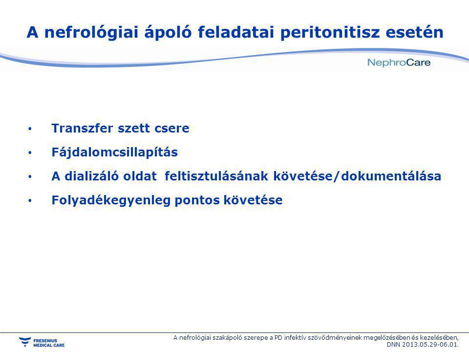A nefrológiai ápoló feladatai peritonitisz esetén Transzfer szett csere Fájdalomcsillapítás A dializáló oldat feltisztulásának követése/dokumentálása