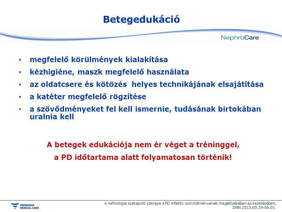 PTIS kezelésének minőségi kritériumai PTIS ráta < 0,67 / betegév, 1 PTIS / 18 beteghónap negatív tenyésztés < 20 % legyen empirikusan adott antibiotikum > 80 % hatásos egyéves katéter túlélés > 80 % A nefrológiai szakápoló szerepe a PD infektív szövődményeinek megelőzésében és kezelésében, DNN 2013.05.29-06.01.