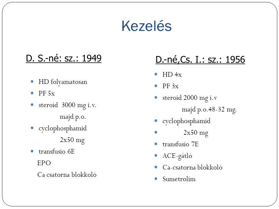 Kezelés D. S.-né: sz.: 1949 D.-né,Cs. I.: sz.: 1956 HD folyamatosan PF 5x steroid 3000 mg i.v. majd p.o. cyclophosphamid 2x50 mg transfusio 6E EPO Ca