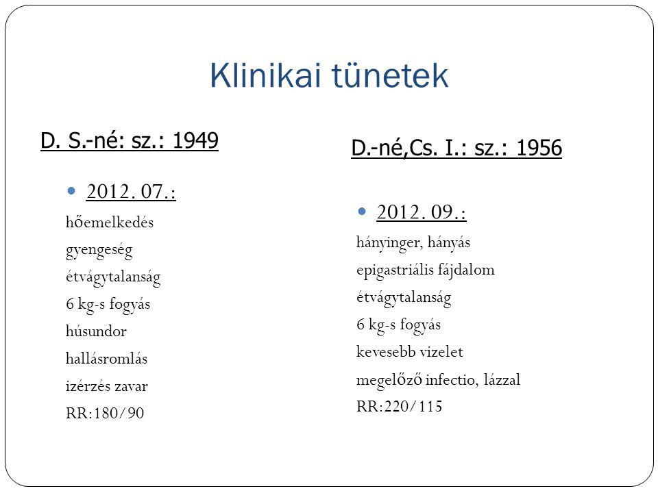Klinikai tünetek D. S.-né: sz.: 1949 D.-né,Cs. I.: sz.: 1956 2012. 07.: hőemelkedés gyengeség étvágytalanság 6 kg-s fogyás húsundor hallásromlás izérz