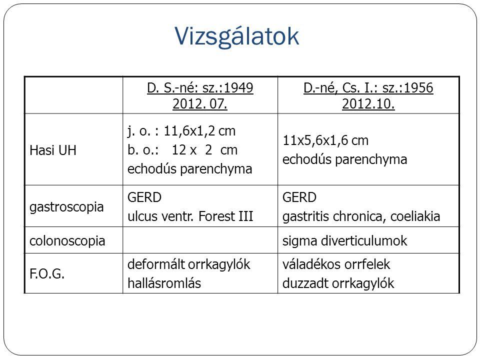 Vizsgálatok D. S.-né: sz.:1949 2012. 07. D.-né, Cs. I.: sz.:1956 2012.10. Hasi UH j. o. : 11,6x1,2 cm b. o.: 12 x 2 cm echodús parenchyma 11x5,6x1,6 c