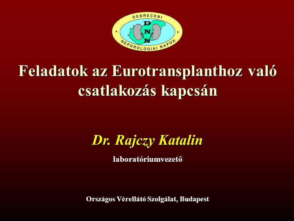 Feladatok az Eurotransplanthoz való csatlakozás kapcsán Dr. Rajczy Katalin laboratóriumvezető,Budapest Országos Vérellátó Szolgálat, Budapest