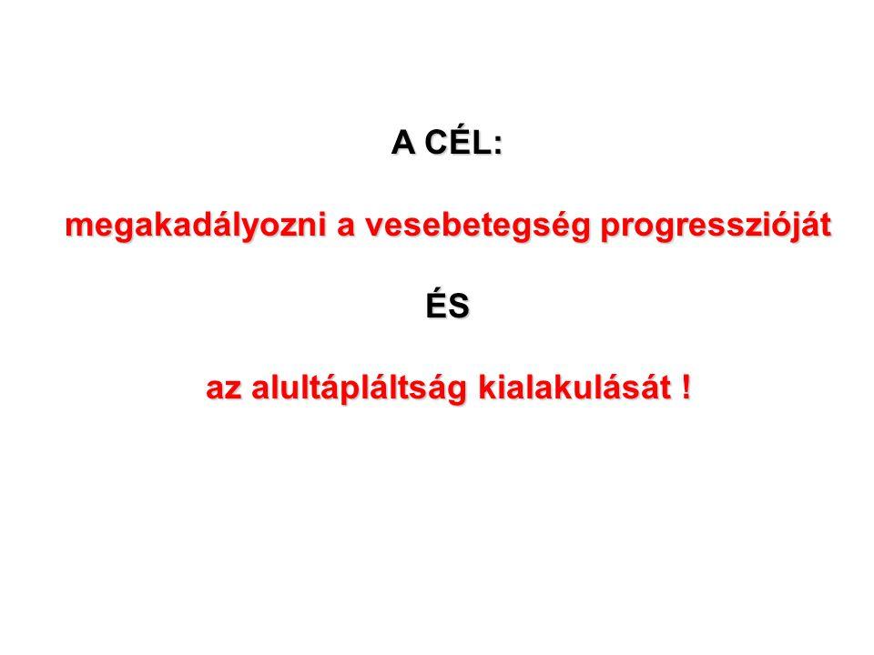 A CÉL: megakadályozni a vesebetegség progresszióját ÉS az alultápláltság kialakulását !