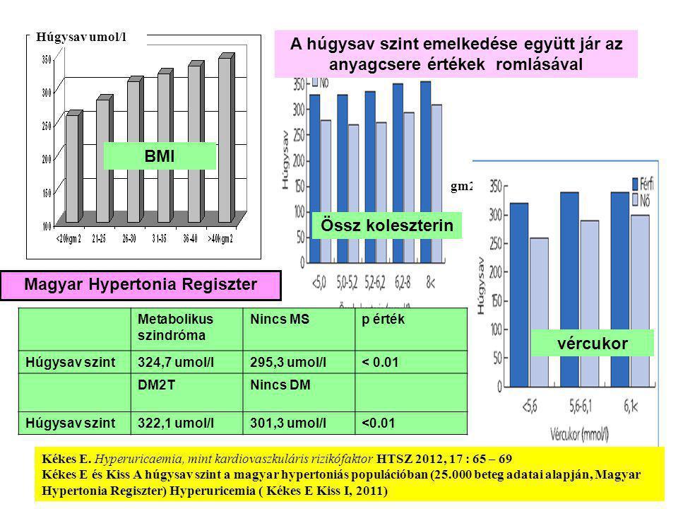 Húgysav umol/l Testtömegindex kgm2 BMI Össz koleszterin vércukor A húgysav szint emelkedése együtt jár az anyagcsere értékek romlásával Metabolikus szindróma Nincs MSp érték Húgysav szint324,7 umol/l295,3 umol/l< 0.01 DM2TNincs DM Húgysav szint322,1 umol/l301,3 umol/l<0.01 Kékes E.