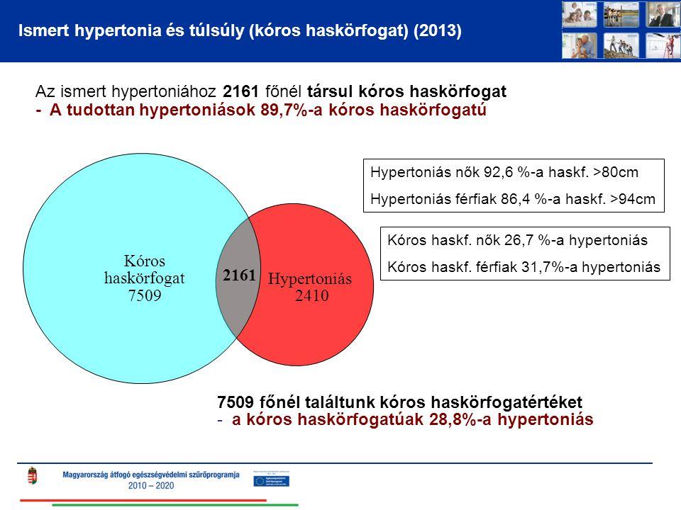 Ismert hypertonia és túlsúly (kóros haskörfogat) (2013) Az ismert hypertoniához 2161 főnél társul kóros haskörfogat - A tudottan hypertoniások 89,7%-a kóros haskörfogatú 7509 főnél találtunk kóros haskörfogatértéket - a kóros haskörfogatúak 28,8%-a hypertoniás Kóros haskörfogat 7509 Hypertoniás 2410 2161 Kóros haskf.
