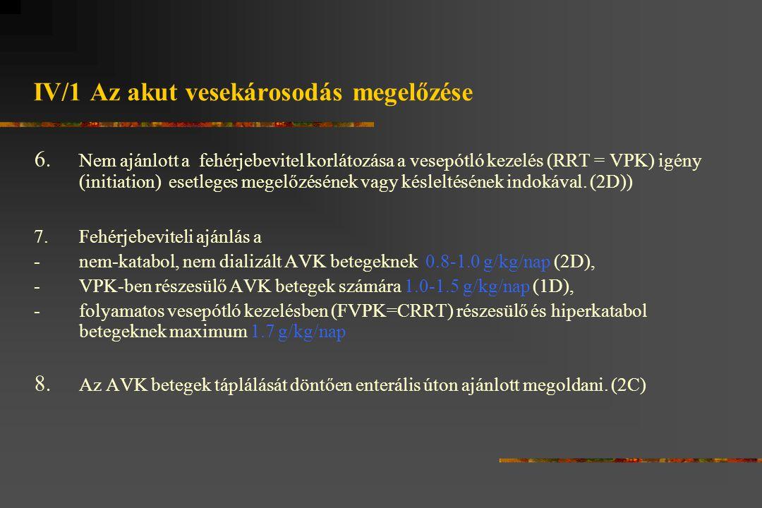 IV/1 Az akut vesekárosodás megelőzése 6.