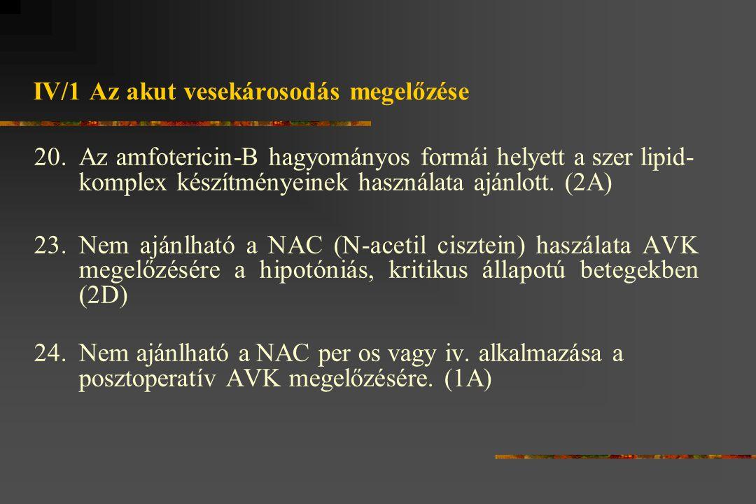 IV/1 Az akut vesekárosodás megelőzése 20.Az amfotericin-B hagyományos formái helyett a szer lipid- komplex készítményeinek használata ajánlott.