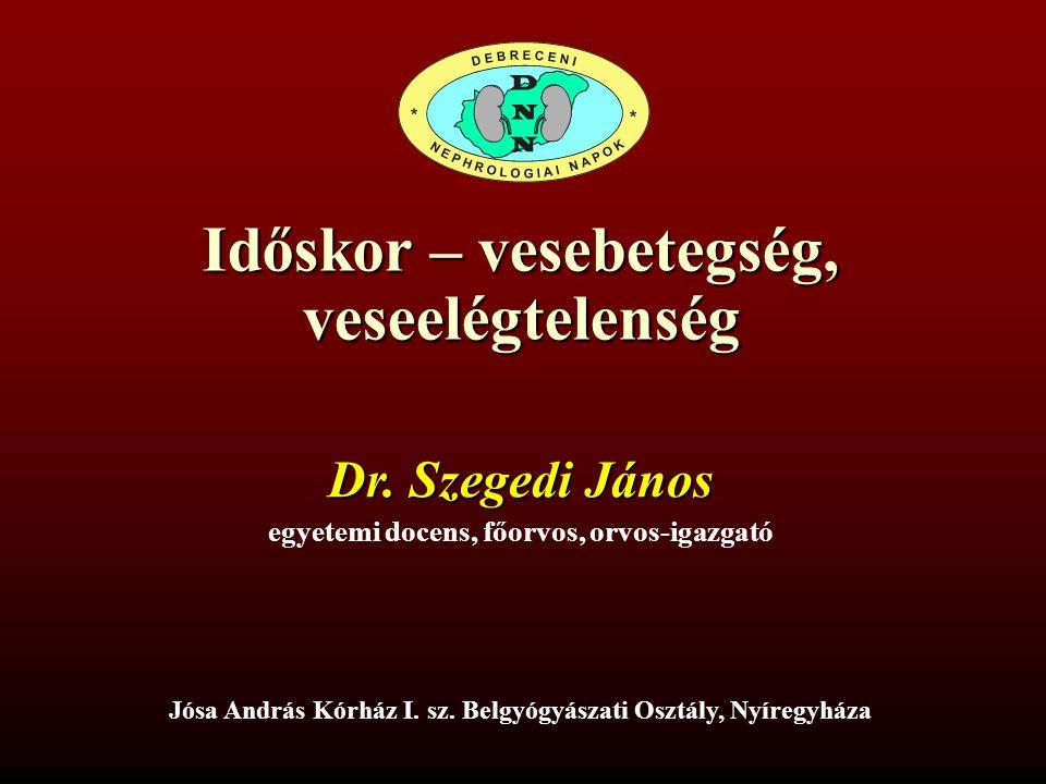 Időskor – vesebetegség, veseelégtelenség Dr. Szegedi János egyetemi docens, főorvos, orvos-igazgató Jósa András Kórház I. sz. Belgyógyászati Osztály,