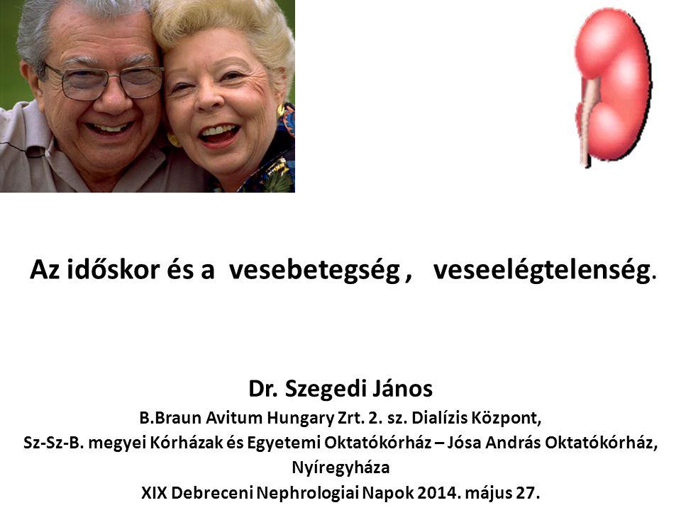 Az időskor és a vesebetegség, veseelégtelenség. Dr. Szegedi János B.Braun Avitum Hungary Zrt. 2. sz. Dialízis Központ, Sz-Sz-B. megyei Kórházak és Egy