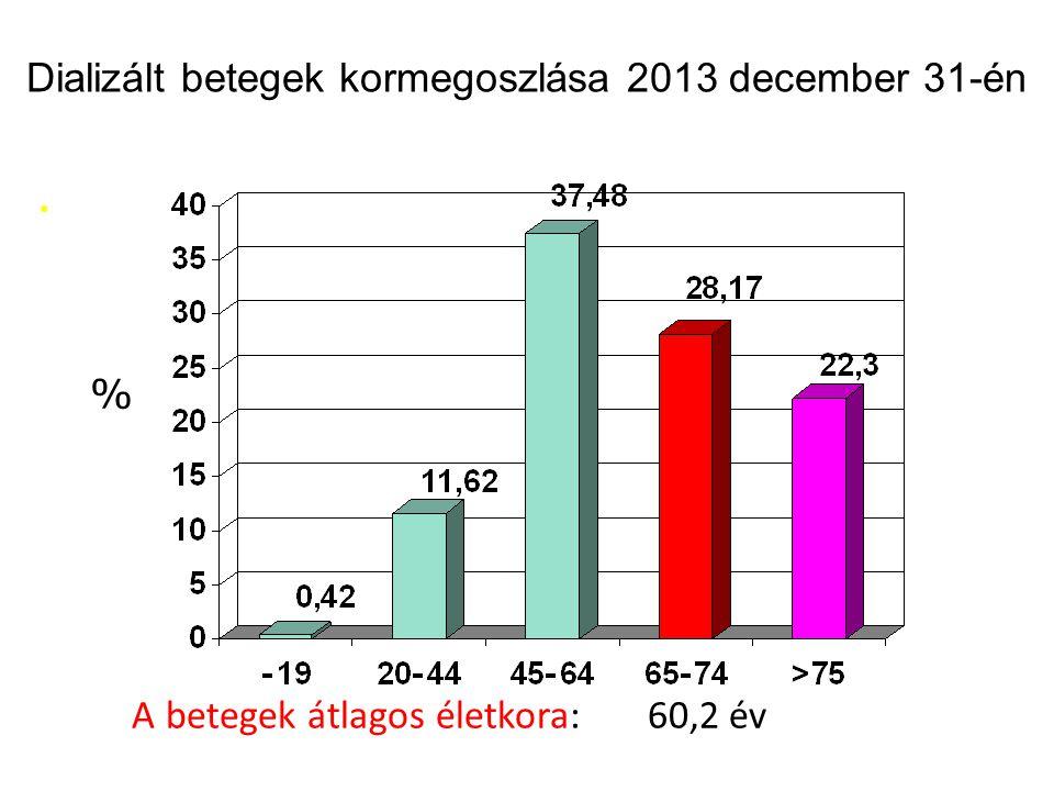 Dializált betegek kormegoszlása 2013 december 31-én % A betegek átlagos életkora: 60,2 év