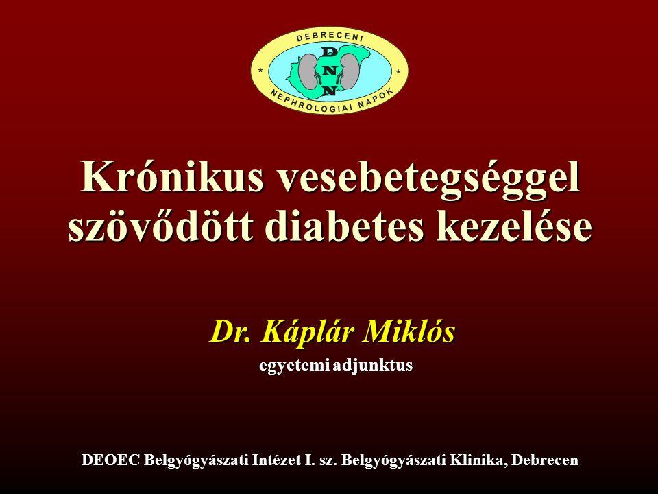Krónikus vesebetegséggel szövődött diabetes kezelése DEOEC Belgyógyászati Intézet I. sz. Belgyógyászati Klinika, Debrecen Dr. Káplár Miklós egyetemi a