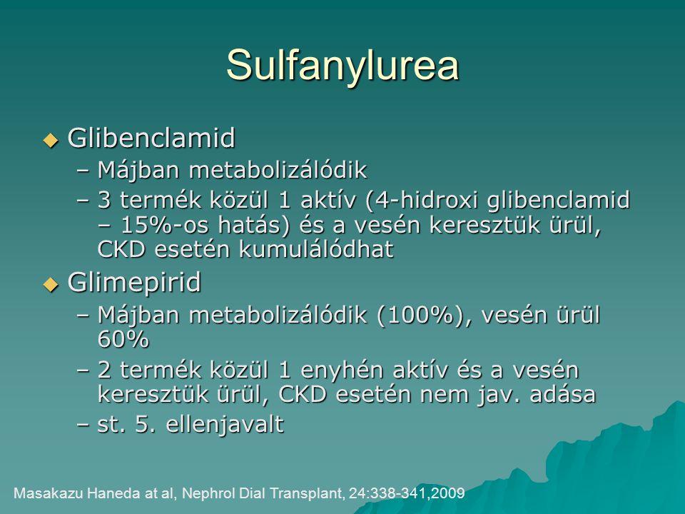 Sulfanylurea  Glibenclamid –Májban metabolizálódik –3 termék közül 1 aktív (4-hidroxi glibenclamid – 15%-os hatás) és a vesén keresztük ürül, CKD ese