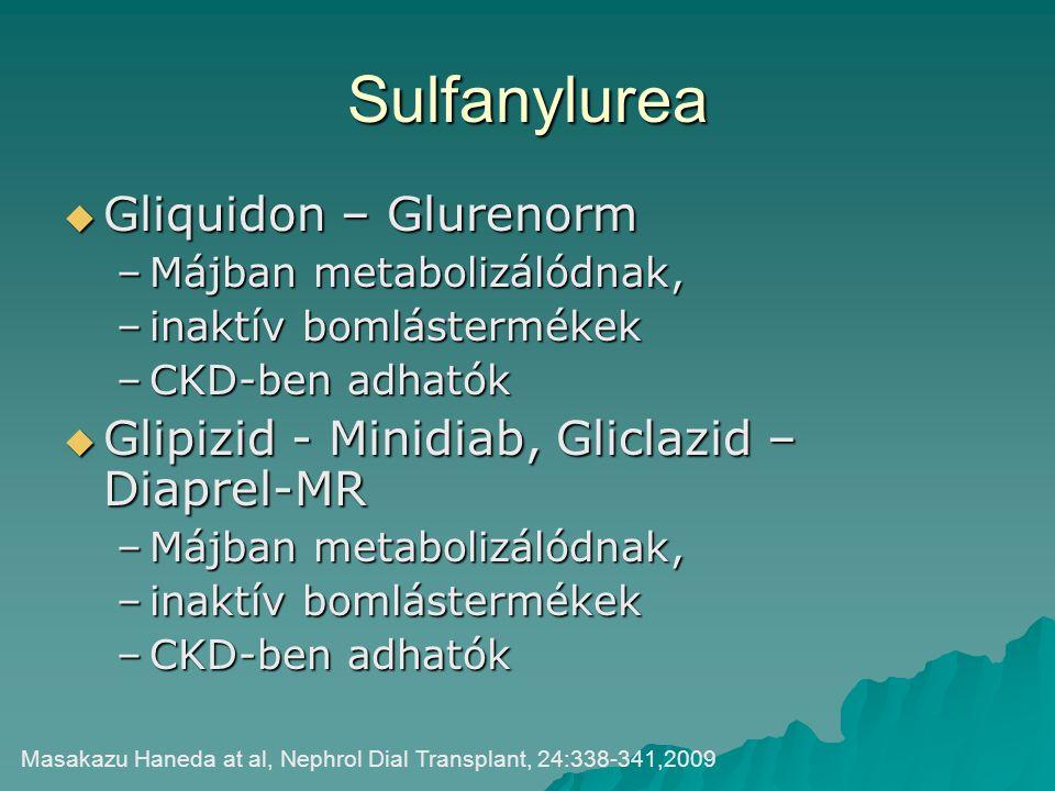 Sulfanylurea  Gliquidon – Glurenorm –Májban metabolizálódnak, –inaktív bomlástermékek –CKD-ben adhatók  Glipizid - Minidiab, Gliclazid – Diaprel-MR