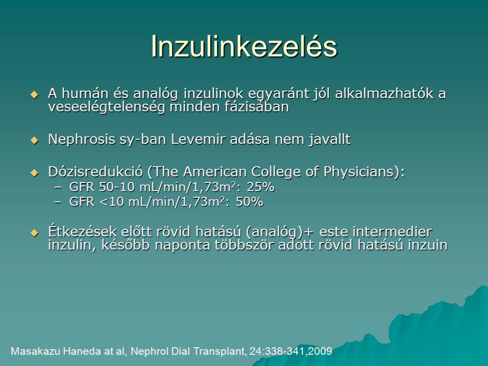 Inzulinkezelés  A humán és analóg inzulinok egyaránt jól alkalmazhatók a veseelégtelenség minden fázisában  Nephrosis sy-ban Levemir adása nem javal