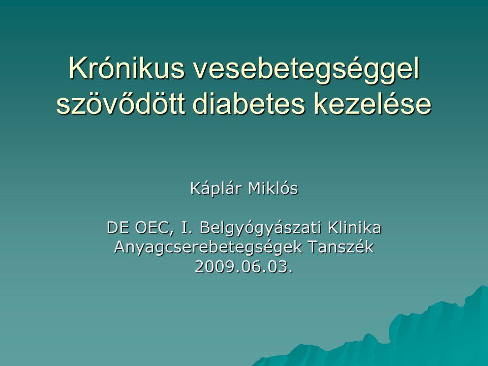 Krónikus vesebetegséggel szövődött diabetes kezelése Káplár Miklós DE OEC, I. Belgyógyászati Klinika Anyagcserebetegségek Tanszék 2009.06.03.