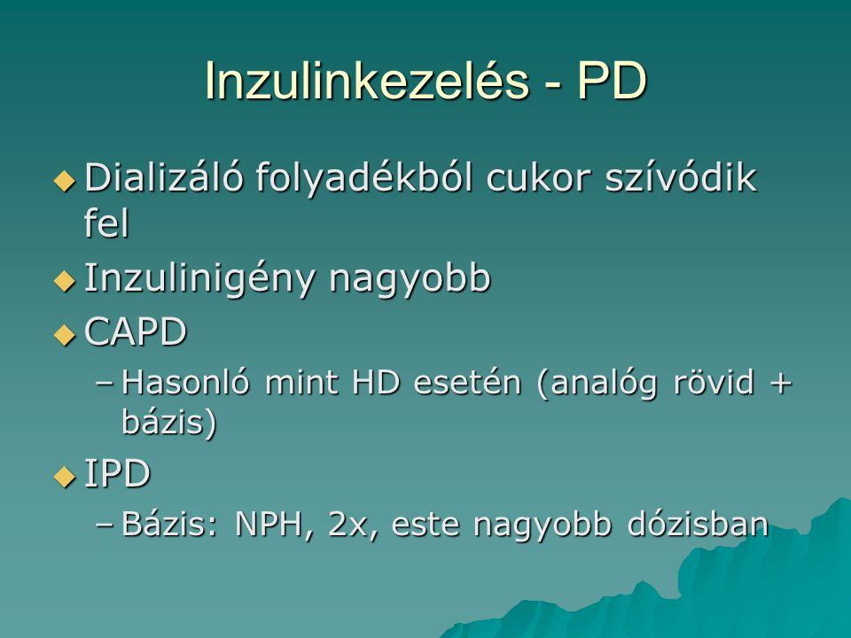 Inzulinkezelés - PD  Dializáló folyadékból cukor szívódik fel  Inzulinigény nagyobb  CAPD –Hasonló mint HD esetén (analóg rövid + bázis)  IPD –Báz