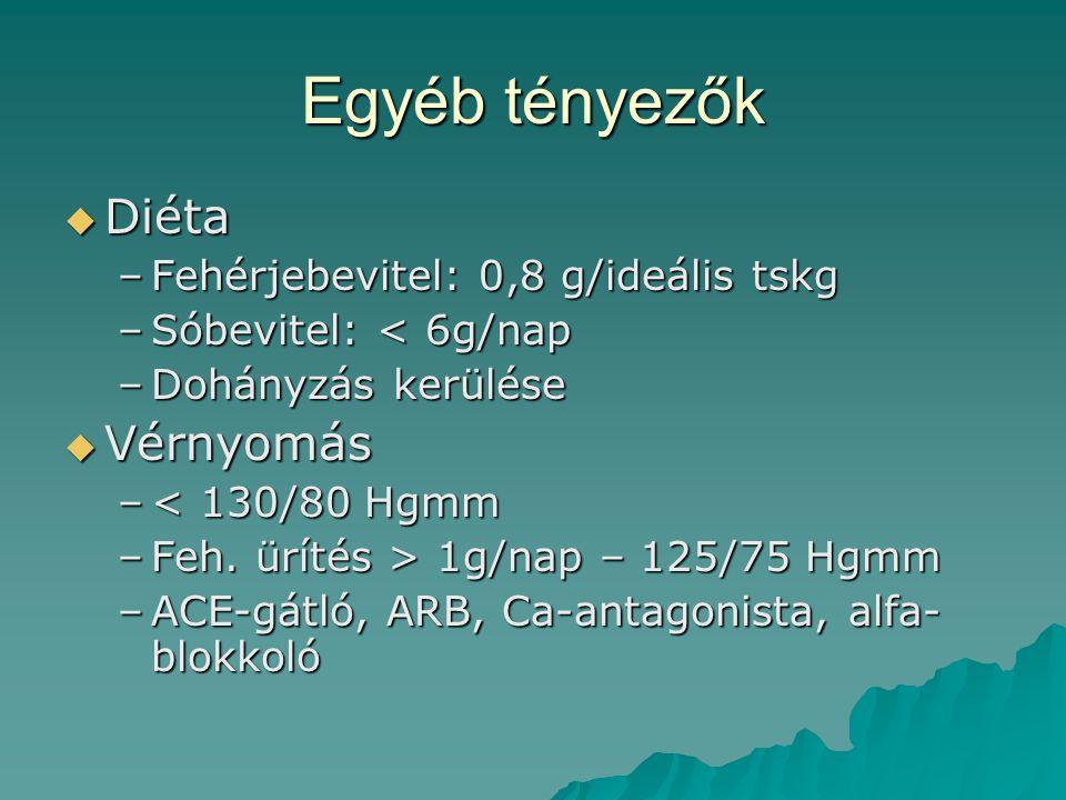 Egyéb tényezők  Diéta –Fehérjebevitel: 0,8 g/ideális tskg –Sóbevitel: < 6g/nap –Dohányzás kerülése  Vérnyomás –< 130/80 Hgmm –Feh. ürítés > 1g/nap –