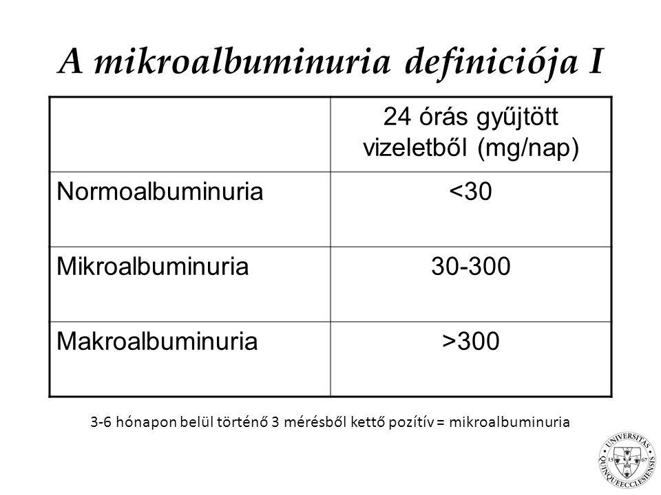 A mikroalbuminuria definiciója I 3-6 hónapon belül történő 3 mérésből kettő pozítív = mikroalbuminuria 24 órás gyűjtött vizeletből (mg/nap) Normoalbuminuria<30 Mikroalbuminuria30-300 Makroalbuminuria>300