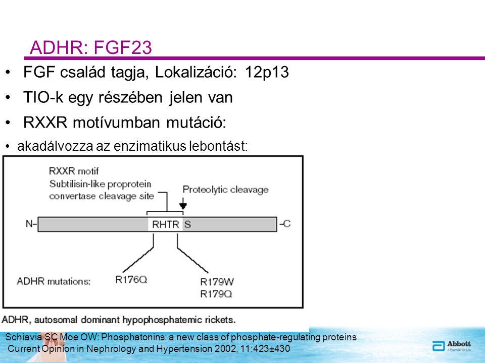 ADHR: FGF23 FGF család tagja, Lokalizáció: 12p13 TIO-k egy részében jelen van RXXR motívumban mutáció: akadályozza az enzimatikus lebontást: Stabil molekula, tartós FGF23 hatás Schiavia SC Moe OW: Phosphatonins: a new class of phosphate-regulating proteins Current Opinion in Nephrology and Hypertension 2002, 11:423±430