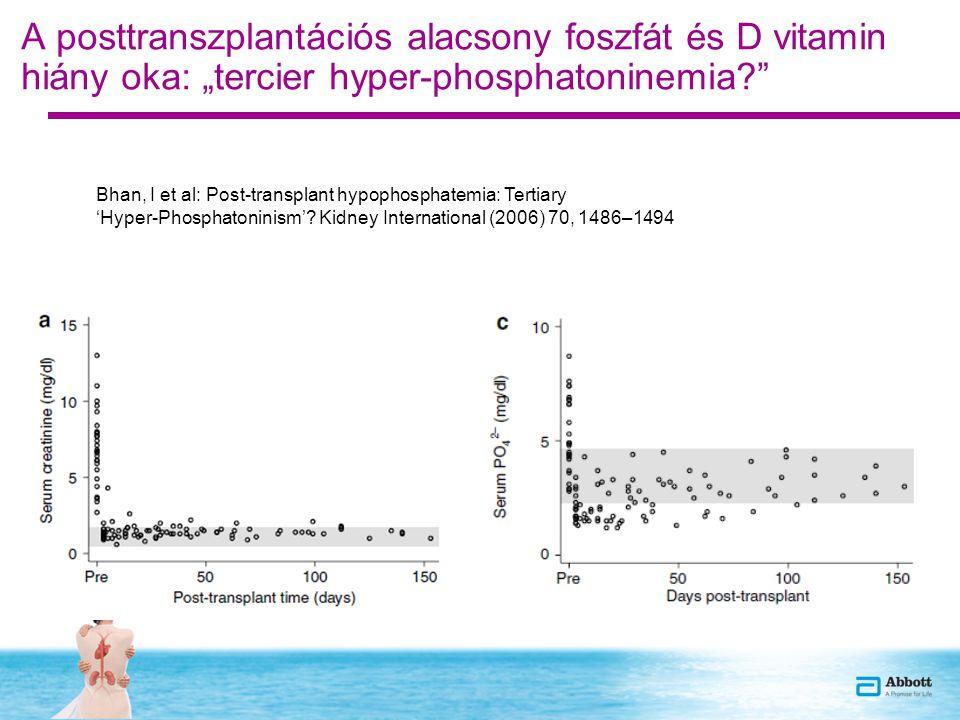 """A posttranszplantációs alacsony foszfát és D vitamin hiány oka: """"tercier hyper-phosphatoninemia? Bhan, I et al: Post-transplant hypophosphatemia: Tertiary 'Hyper-Phosphatoninism'."""