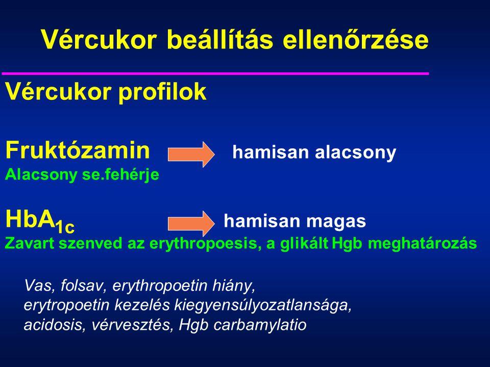Vércukor beállítás ellenőrzése Vércukor profilok Fruktózamin hamisan alacsony Alacsony se.fehérje HbA 1c hamisan magas Zavart szenved az erythropoesis