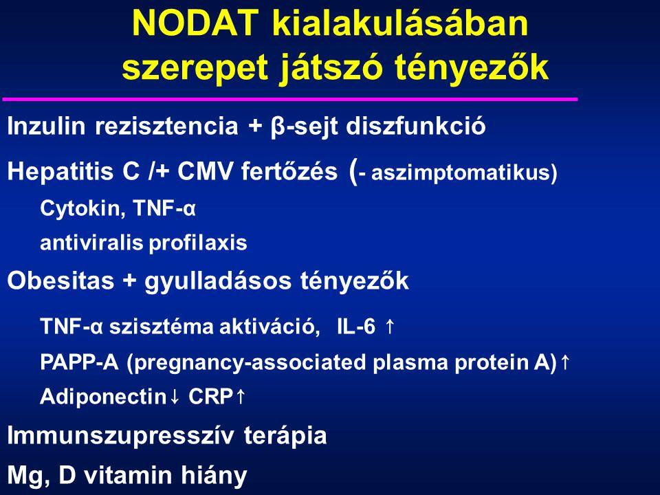 Inzulin rezisztencia + β-sejt diszfunkció Hepatitis C /+ CMV fertőzés ( - aszimptomatikus) Cytokin, TNF-α antiviralis profilaxis Obesitas + gyulladáso