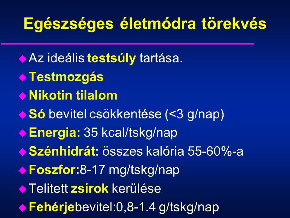 Egészséges életmódra törekvés u Az ideális testsúly tartása. u Testmozgás u Nikotin tilalom u Só bevitel csökkentése (<3 g/nap) u Energia: 35 kcal/tsk