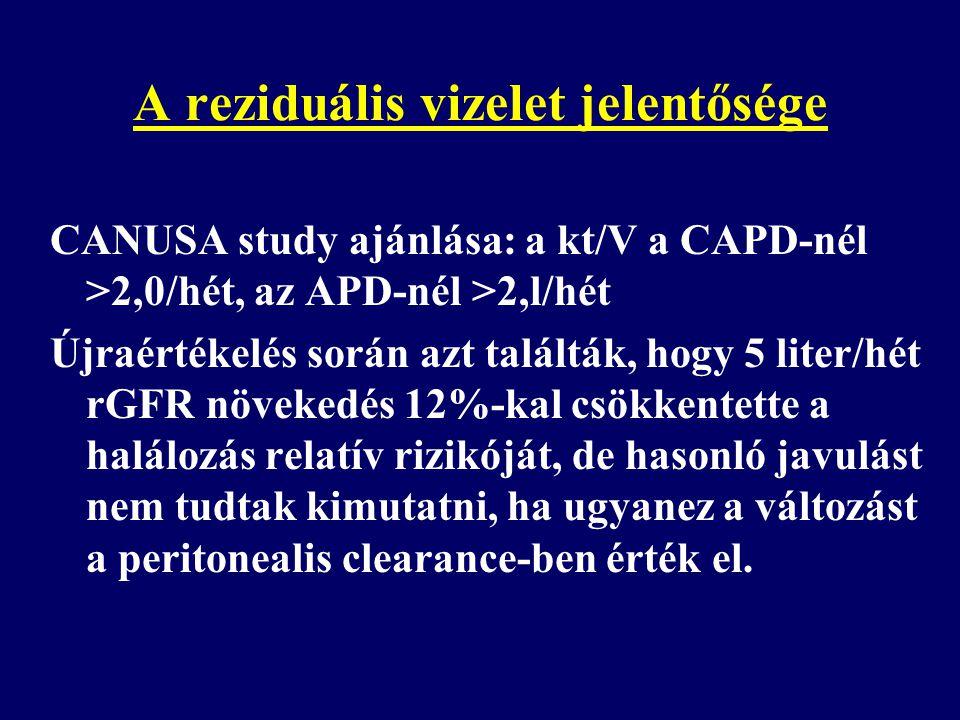 A reziduális vizelet jelentősége CANUSA study ajánlása: a kt/V a CAPD-nél >2,0/hét, az APD-nél >2,l/hét Újraértékelés során azt találták, hogy 5 liter