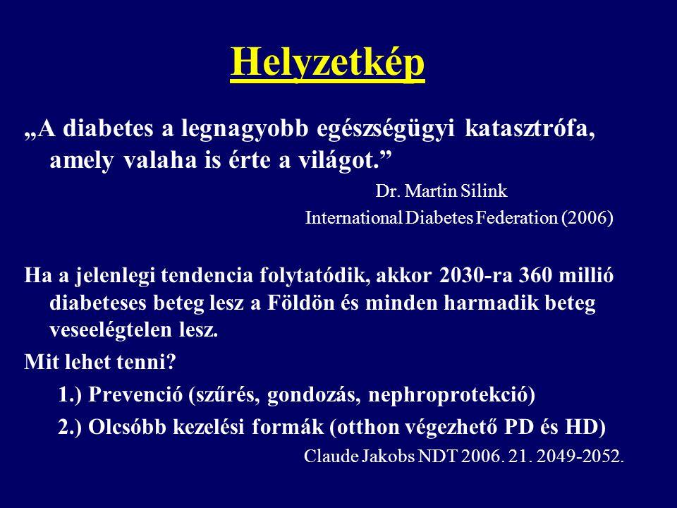 Dialízis kezelésben részesülő betegek prevalenciája és a PD aránya 2004-ben total prevalencia (pmp) PD-s betegek (%) Japán 1862 3,9% USA 1446 8,0% Német o.