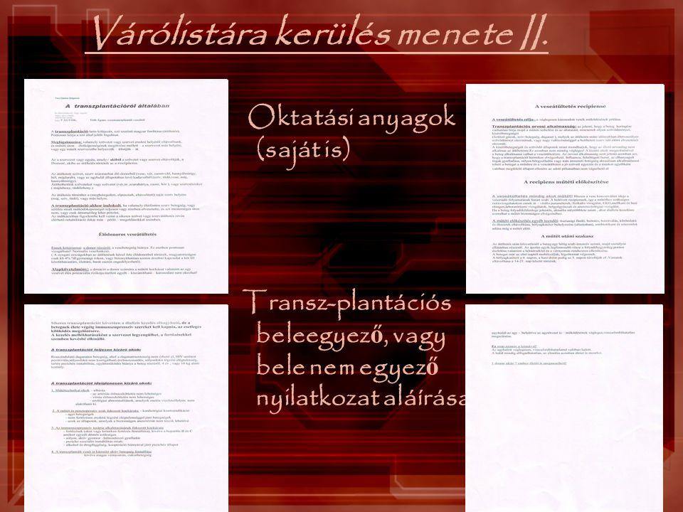 Várólistára kerülés menete II. Oktatási anyagok (saját is) Transz-plantációs beleegyez ő, vagy bele nem egyez ő nyilatkozat aláírása
