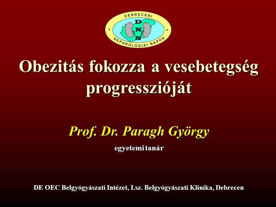 Obezitás fokozza a vesebetegség progresszióját DE OEC Belgyógyászati Intézet, I.sz. Belgyógyászati Klinika, Debrecen Prof. Dr. Paragh György egyetemi