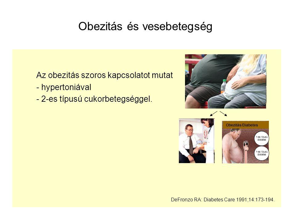 Obezitás és vesebetegség Az obezitás szoros kapcsolatot mutat - hypertoniával - 2-es típusú cukorbetegséggel. DeFronzo RA: Diabetes Care 1991;14:173-1