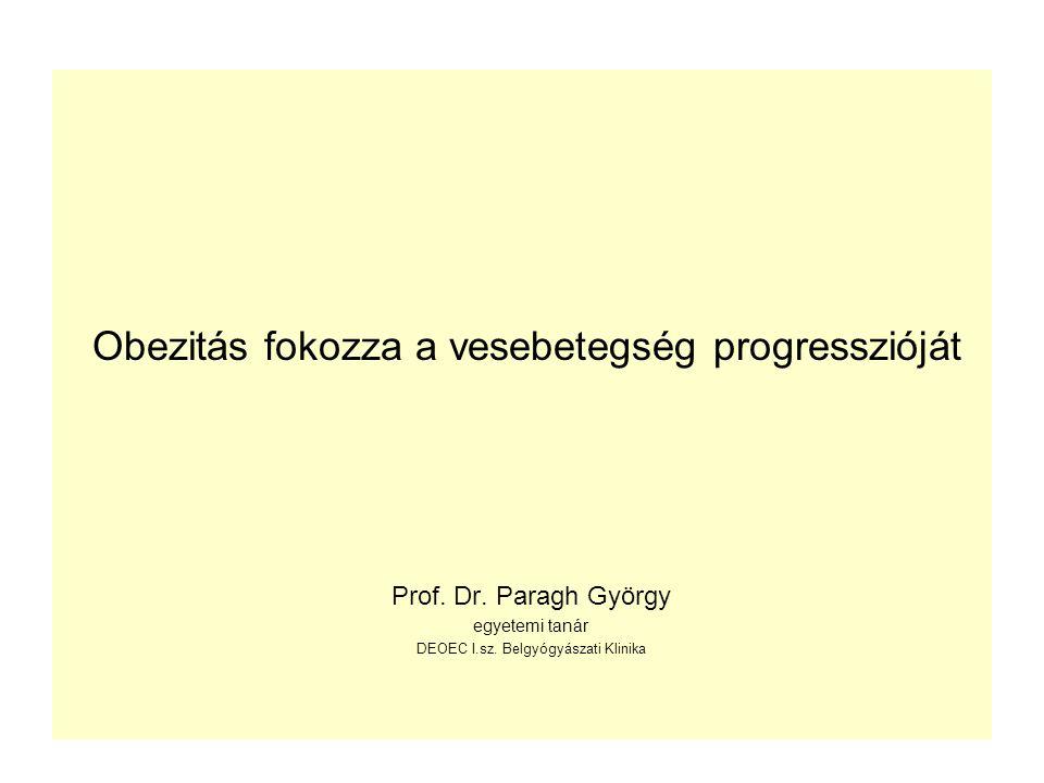 Obezitás fokozza a vesebetegség progresszióját Prof. Dr. Paragh György egyetemi tanár DEOEC I.sz. Belgyógyászati Klinika
