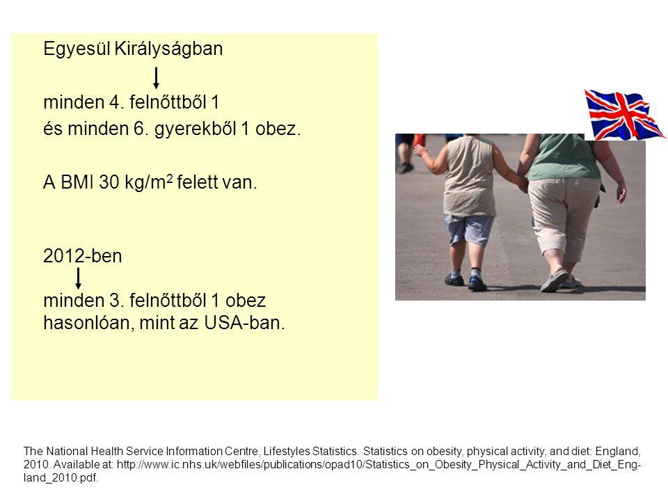 Egyesül Királyságban minden 4. felnőttből 1 és minden 6. gyerekből 1 obez. 2 A BMI 30 kg/m 2 felett van. 2012-ben minden 3. felnőttből 1 obez hasonlóa