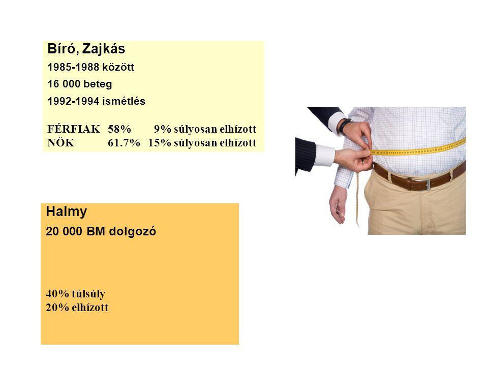 Bíró, Zajkás 1985-1988 között 16 000 beteg 1992-1994 ismétlés FÉRFIAK 58% 9% súlyosan elhízott NŐK 61.7% 15% súlyosan elhízott Halmy 20 000 BM dolgozó