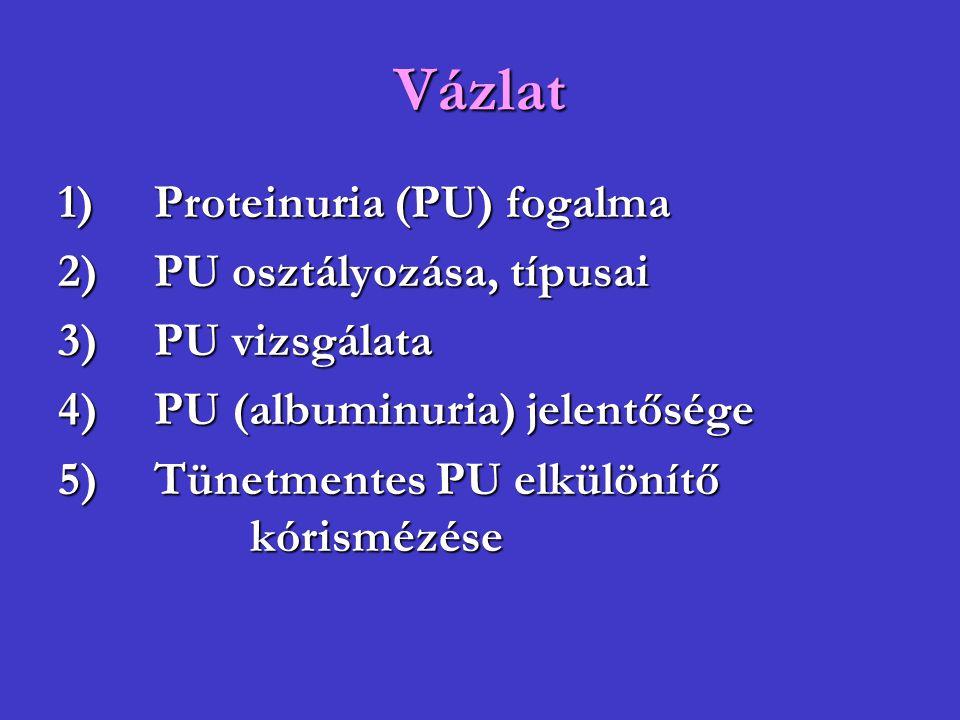 Vázlat 1)Proteinuria (PU) fogalma 2)PU osztályozása, típusai 3)PU vizsgálata 4)PU (albuminuria) jelentősége 5)Tünetmentes PU elkülönítő kórismézése