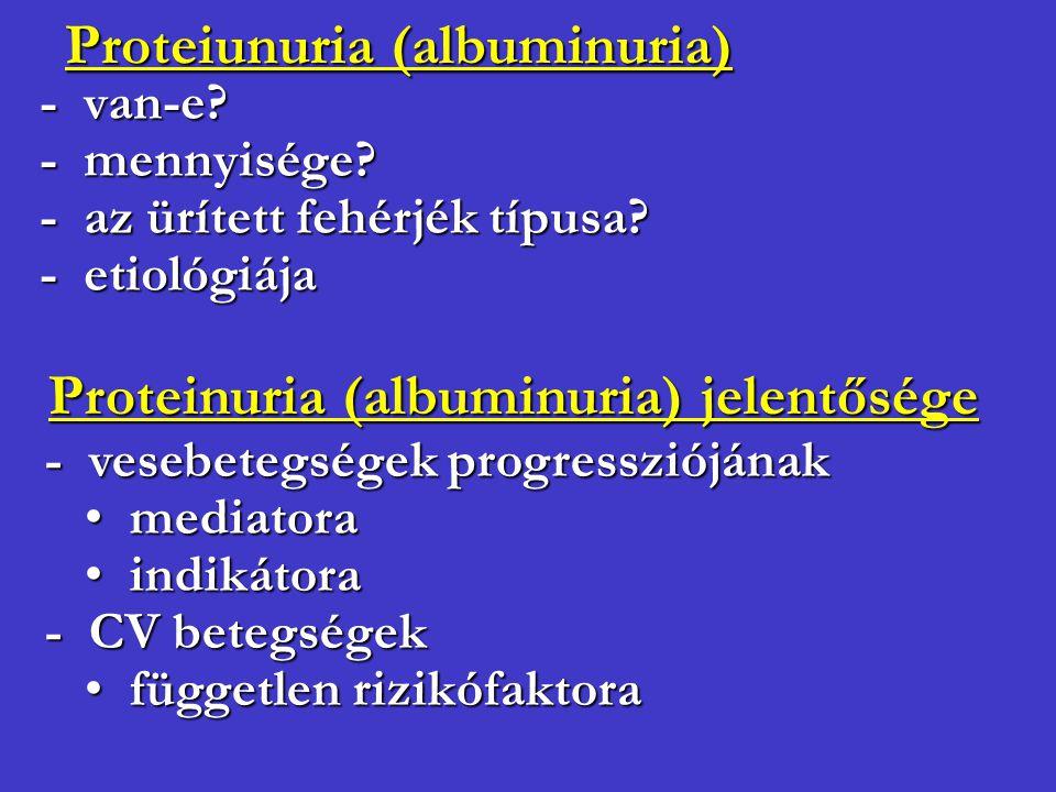 Proteiunuria (albuminuria) - van-e? - mennyisége? - az ürített fehérjék típusa? - etiológiája Proteinuria (albuminuria) jelentősége - vesebetegségek p