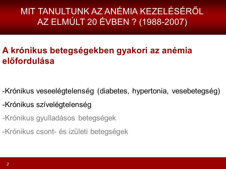 2 A krónikus betegségekben gyakori az anémia előfordulása -Krónikus veseelégtelenség (diabetes, hypertonia, vesebetegség) -Krónikus szívelégtelenség -