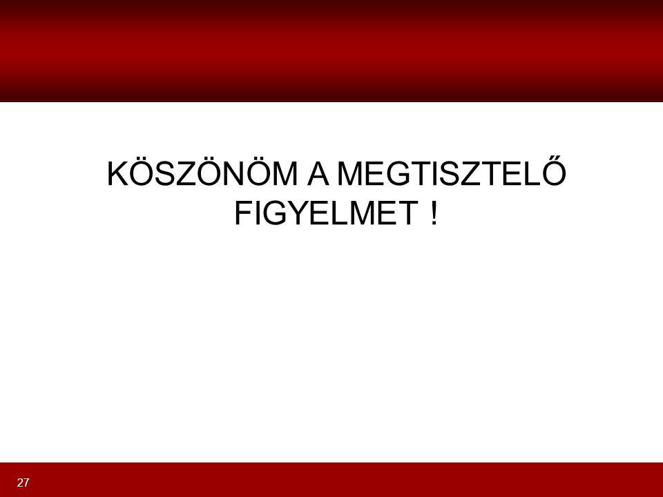 27 KÖSZÖNÖM A MEGTISZTELŐ FIGYELMET !
