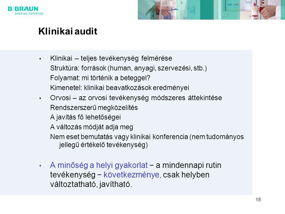 Klinikai audit Klinikai – teljes tevékenység felmérése Struktúra: források (human, anyagi, szervezési, stb.) Folyamat: mi történik a beteggel? Kimenet