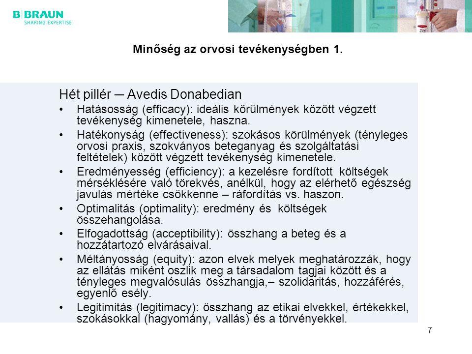 Minőség az orvosi tevékenységben 1. Hét pillér ─ Avedis Donabedian Hatásosság (efficacy): ideális körülmények között végzett tevékenység kimenetele, h