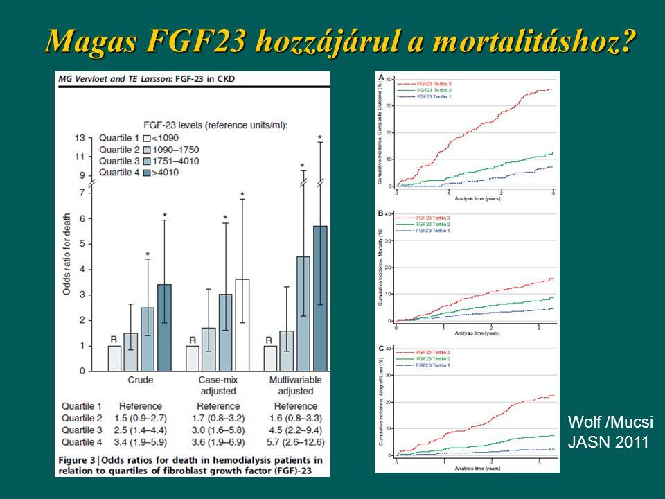 Magas FGF23 hozzájárul a mortalitáshoz? Wolf /Mucsi JASN 2011