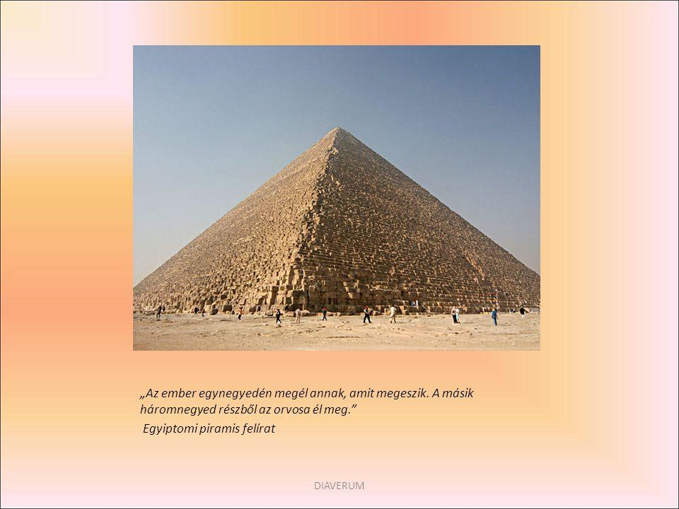 """""""Az ember egynegyedén megél annak, amit megeszik. A másik háromnegyed részből az orvosa él meg."""" Egyiptomi piramis felírat DIAVERUM"""