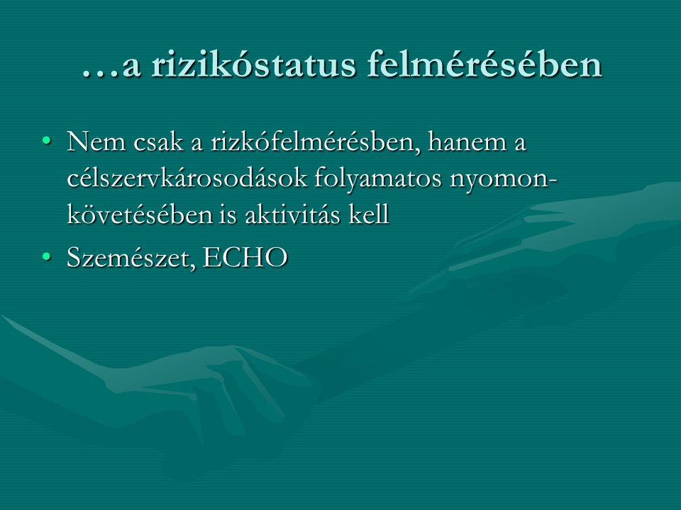 …a rizikóstatus felmérésében Nem csak a rizkófelmérésben, hanem a célszervkárosodások folyamatos nyomon- követésében is aktivitás kellNem csak a rizkófelmérésben, hanem a célszervkárosodások folyamatos nyomon- követésében is aktivitás kell Szemészet, ECHOSzemészet, ECHO