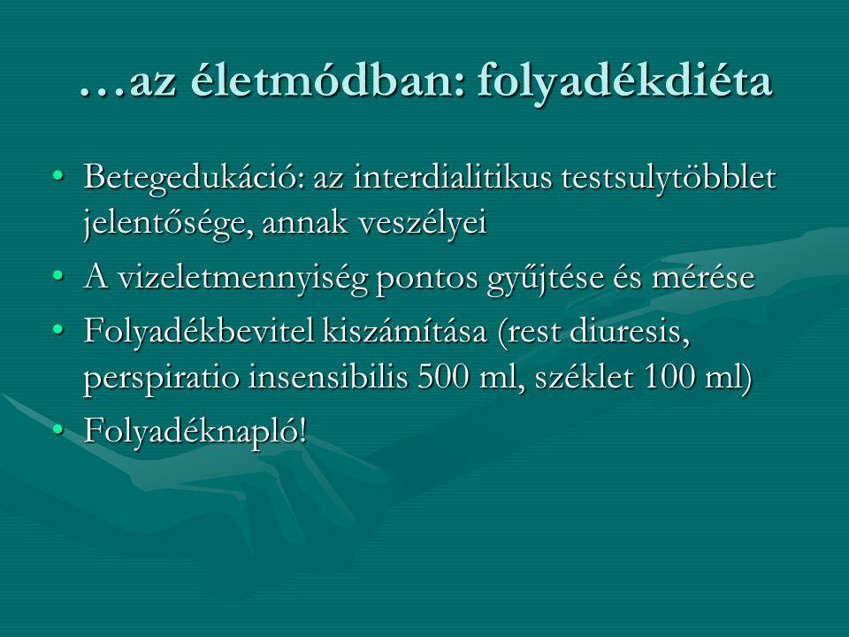 …az életmódban: folyadékdiéta Betegedukáció: az interdialitikus testsulytöbblet jelentősége, annak veszélyeiBetegedukáció: az interdialitikus testsulytöbblet jelentősége, annak veszélyei A vizeletmennyiség pontos gyűjtése és méréseA vizeletmennyiség pontos gyűjtése és mérése Folyadékbevitel kiszámítása (rest diuresis, perspiratio insensibilis 500 ml, széklet 100 ml)Folyadékbevitel kiszámítása (rest diuresis, perspiratio insensibilis 500 ml, széklet 100 ml) Folyadéknapló!Folyadéknapló!