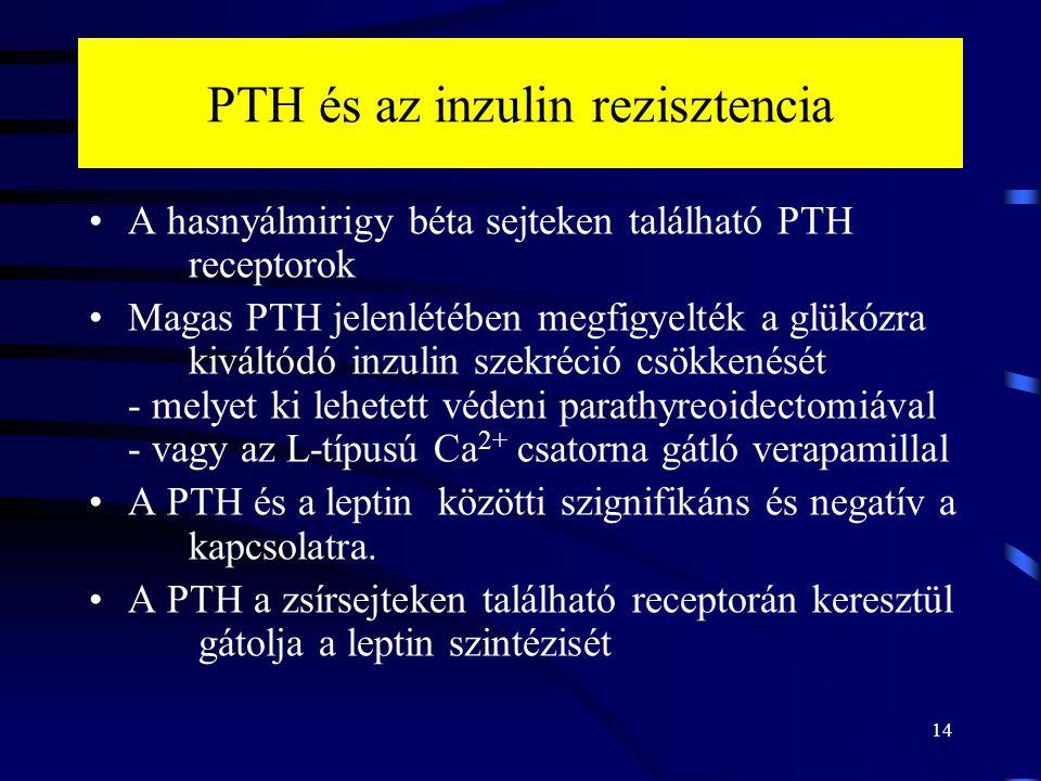PTH és az inzulin rezisztencia A hasnyálmirigy béta sejteken található PTH receptorok Magas PTH jelenlétében megfigyelték a glükózra kiváltódó inzulin szekréció csökkenését - melyet ki lehetett védeni parathyreoidectomiával - vagy az L-típusú Ca 2+ csatorna gátló verapamillal A PTH és a leptin közötti szignifikáns és negatív a kapcsolatra.