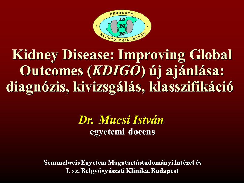 Kidney Disease: Improving Global Outcomes (KDIGO) új ajánlása: diagnózis, kivizsgálás, klasszifikáció Semmelweis Egyetem Magatartástudományi Intézet és I.