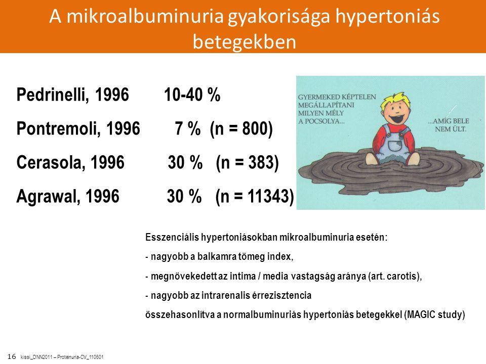 16 kissi_DNN2011 – Proteinuria-CV_110601 Pedrinelli, 1996 10-40 % Pontremoli, 1996 7 % (n = 800) Cerasola, 1996 30 % (n = 383) Agrawal, 1996 30 % (n =