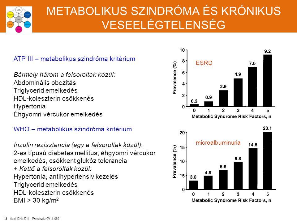 8 kissi_DNN2011 – Proteinuria-CV_110601 METABOLIKUS SZINDRÓMA ÉS KRÓNIKUS VESEELÉGTELENSÉG ATP III – metabolikus szindróma kritérium Bármely három a f