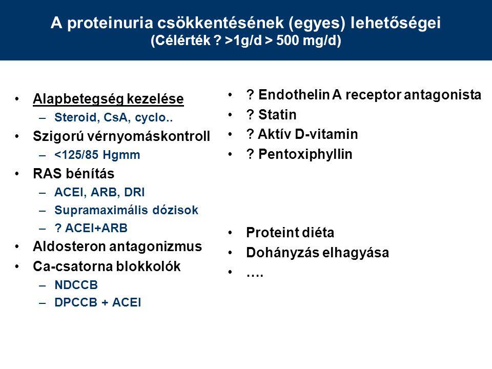 A proteinuria csökkentésének (egyes) lehetőségei (Célérték .